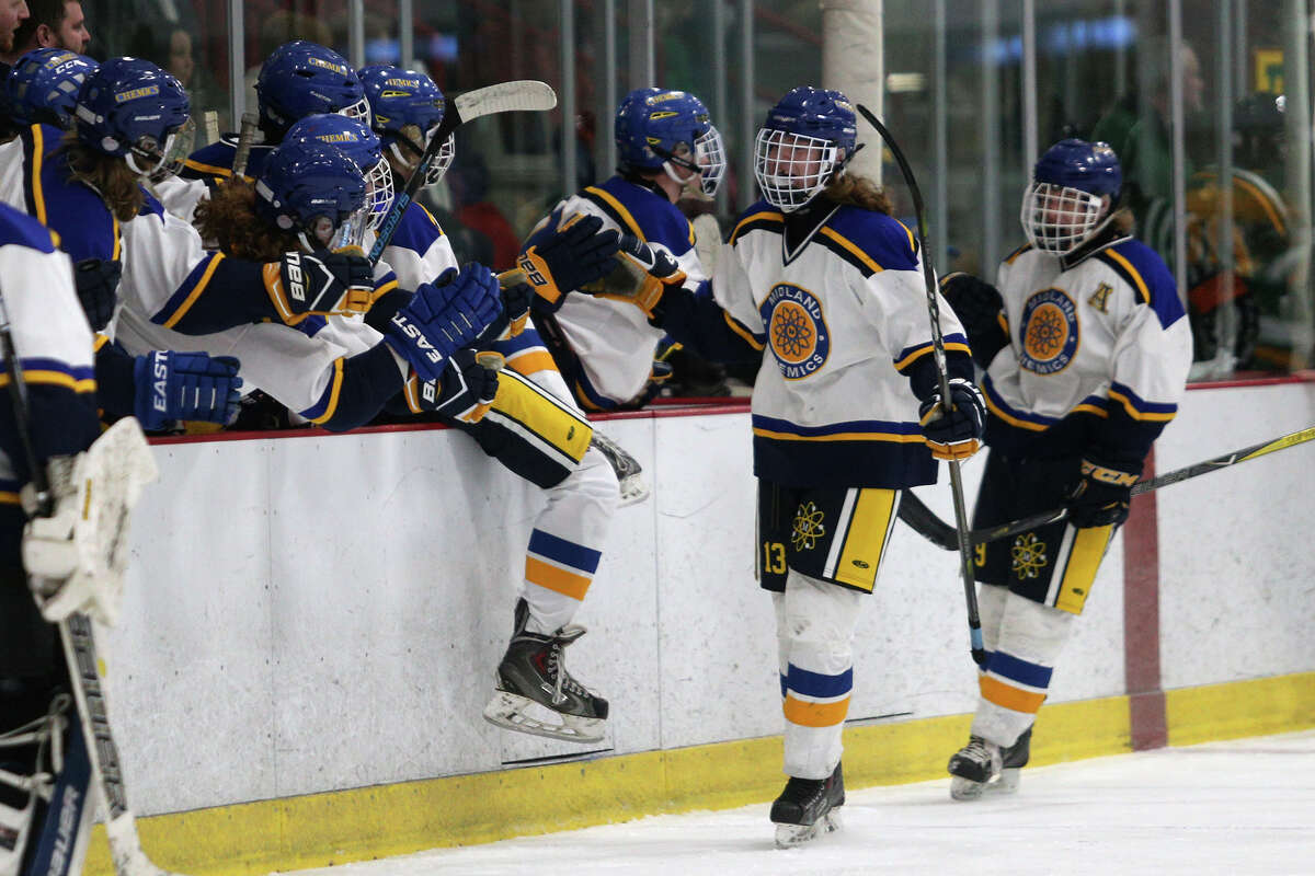 Midland celebrates after scoring a goal during their game against Dow on Wednesday, Feb. 7, 2018 at Midland Civic Arena. (Samantha Madar/for the Daily News)