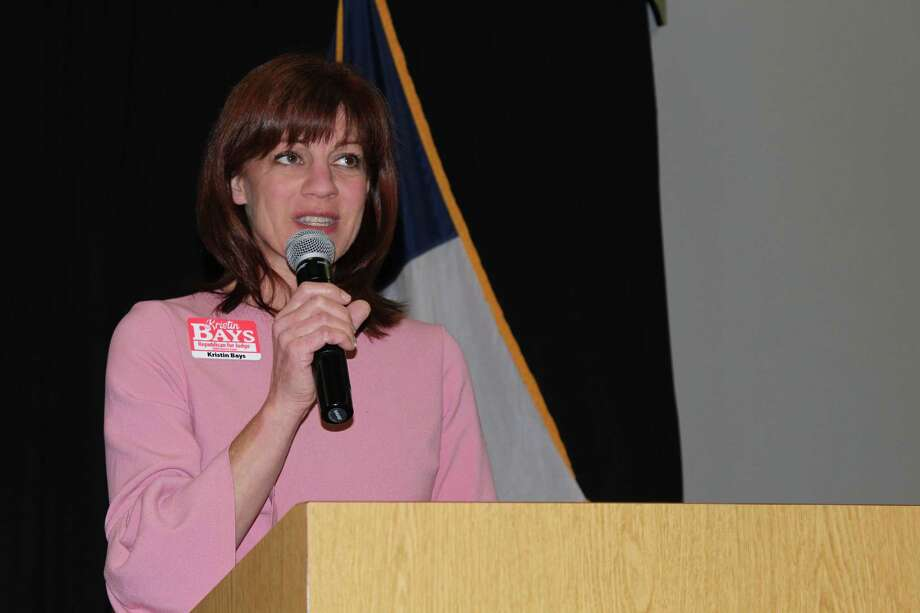 Kristin Bays and Jo Ann Linzer are running for 284th District Court Judge and spoke during the Lake Conroe Area Republican Women's Forum Thursday night. Photo: Meagan Ellsworth