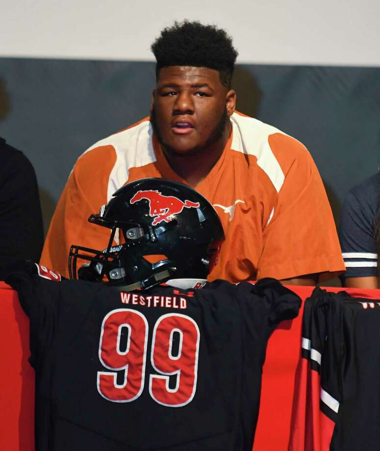 Westfield defensive lineman Keondre Coburn is a big pickup for Texas, to the tune of 334 pounds. Photo: Tony Gaines/ HCN, Staff / Houston Chronicle