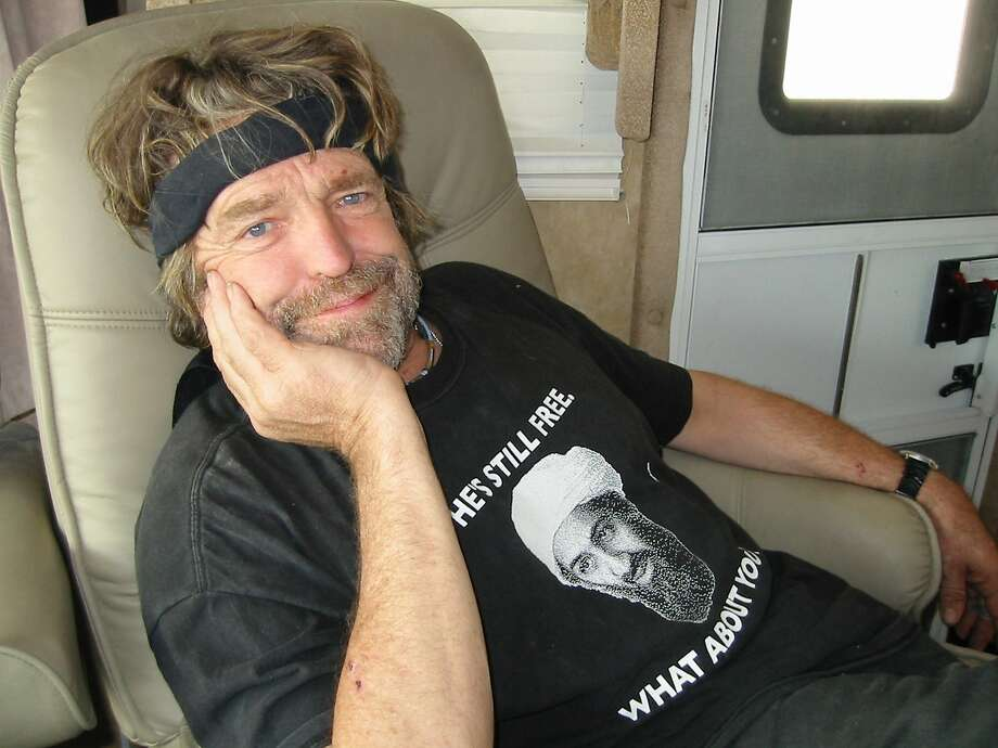 John Perry Barlow poses in his RV at Burning Man in August 2007. Photo: Lindsay Brice, Getty Images