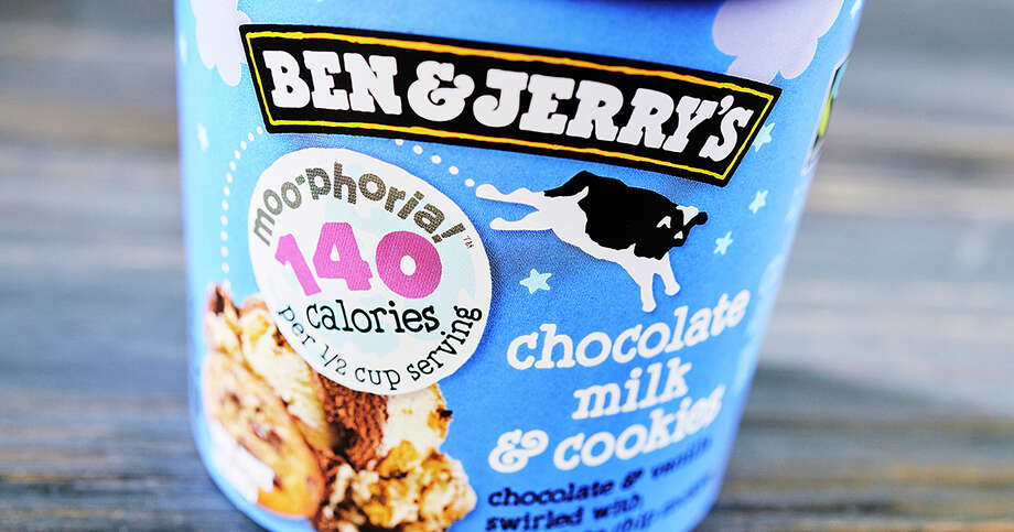 Unlike Halo Top, Ben & Jerry's Moo-phoria packages have the calorie count for a half-cup serving on the front. Dena Wimette of Ben & Jerry's says the company doesn't want to encourage customers to eat the entire pint in one sitting. Photo: HONS / Ben & Jerry's
