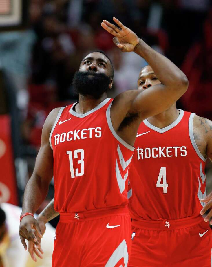 James Harden gives his 3-point salute en route to a 41-point performance. Photo: Wilfredo Lee, STF / Copyright 2018 The Associated Press. All rights reserved.