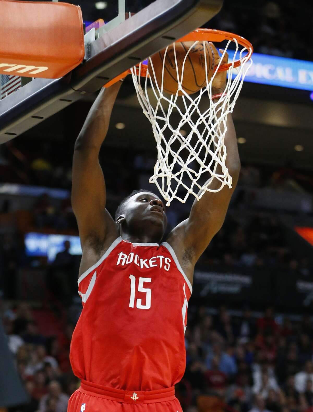 Houston Rockets center Clint Capela dunks the ball during the first half of an NBA basketball game against the Miami Heat, Wednesday, Feb. 7, 2018, in Miami. (AP Photo/Wilfredo Lee)