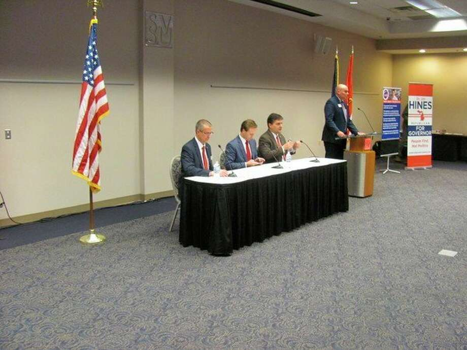 Gubernatorial candidates from left, Dr. Jim Hines, Lt. Gov. Brian Calley, and Sen. Patrick Colbeck, prepare for the SVSU Gubernatorial Debate.