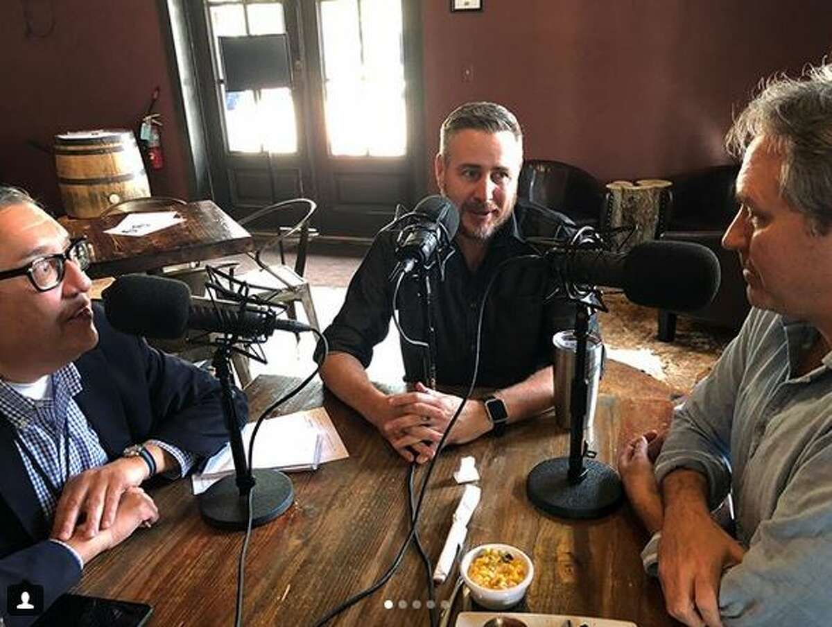 Buck's Barbecue Co. owner Jim Buchanan, center, is interviewed by Greg Morago and J.C. Reid for the Barbecue State of Mind podcast.