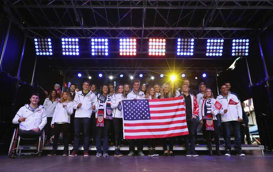 NEW YORK, NY - NOVEMBER 01:  Bobsledder Elana Meyers Taylor, snowboarder Alex Deibold, skier Lindsey Vonn, skier Gus Kenworthy, figure skater Ashley Wagner and Team USA pose for a portrait during the 100 Days Out 2018 PyeongChang Winter Olympics Celebration - Team USA in Times Square on November 1, 2017 in New York City.  (Photo by Abbie Parr/Getty Images)For a look at Team USA, browse through the gallery. Photo: Abbie Parr/Getty Images