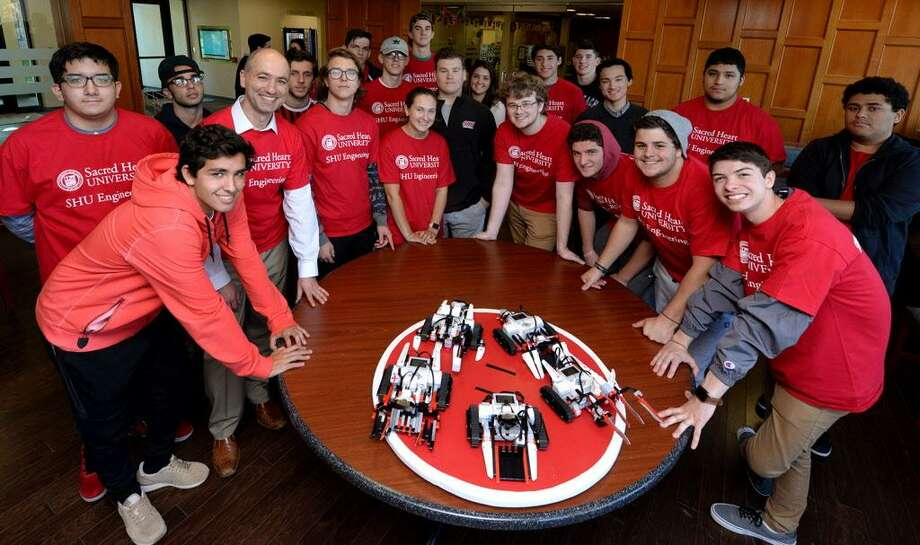SHU engineering students planning a drone race fundraiser Photo: Contributed / © Sacred Heart University 2017