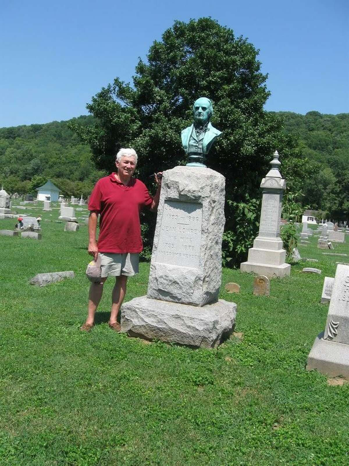 Don Rankin stands by the grave of his relative, the Rev. John Rankin, the subject of an upcoming program at the Middlesex County Historical Society on the work of abolitionists.