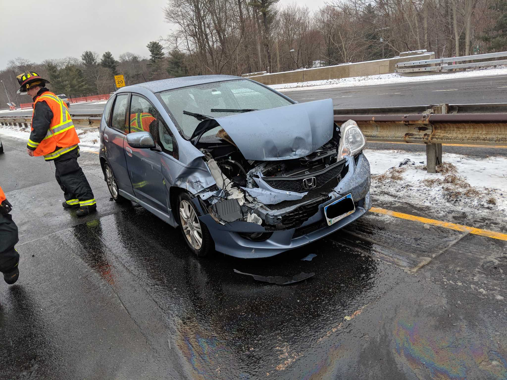 Car Accident Strikes On Snowy Morning