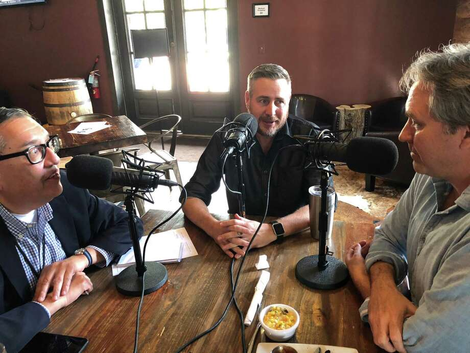 Buck's Barbecue Co. owner Jim Buchanan, center, is interviewed by Greg Morago and J.C. Reid for the Barbecue State of Mind podcast. Photo: Afshar Kharat