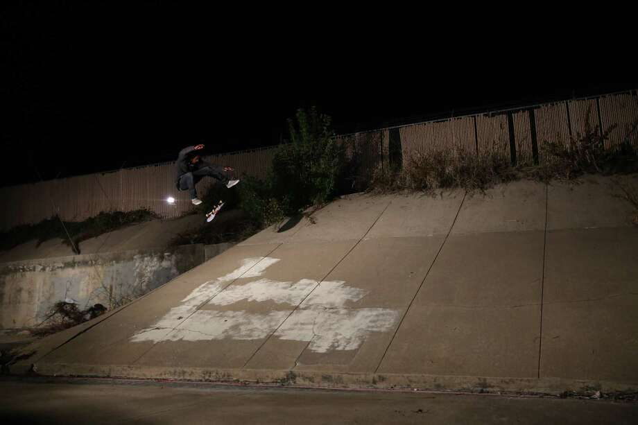 "Dallis Thompson shows off in the skate video ""Texalona 2."""