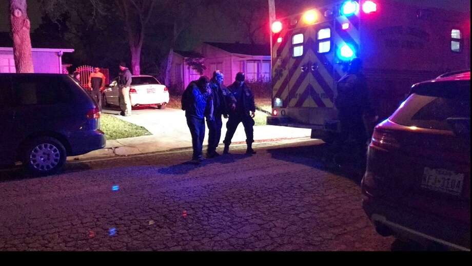Medics and officers escort a man as he walks to an ambulance in Corpus Christi, Texas. A man believed to be in his 30s is in police custody after four people were stabbed Wednesday, Feb. , 7, 2018 evening during a church service inside a residence in Corpus Christi. (Alexandria Rodriguez/Corpus Christi Caller-Times via AP) Photo: Alexandria Rodriguez/AP