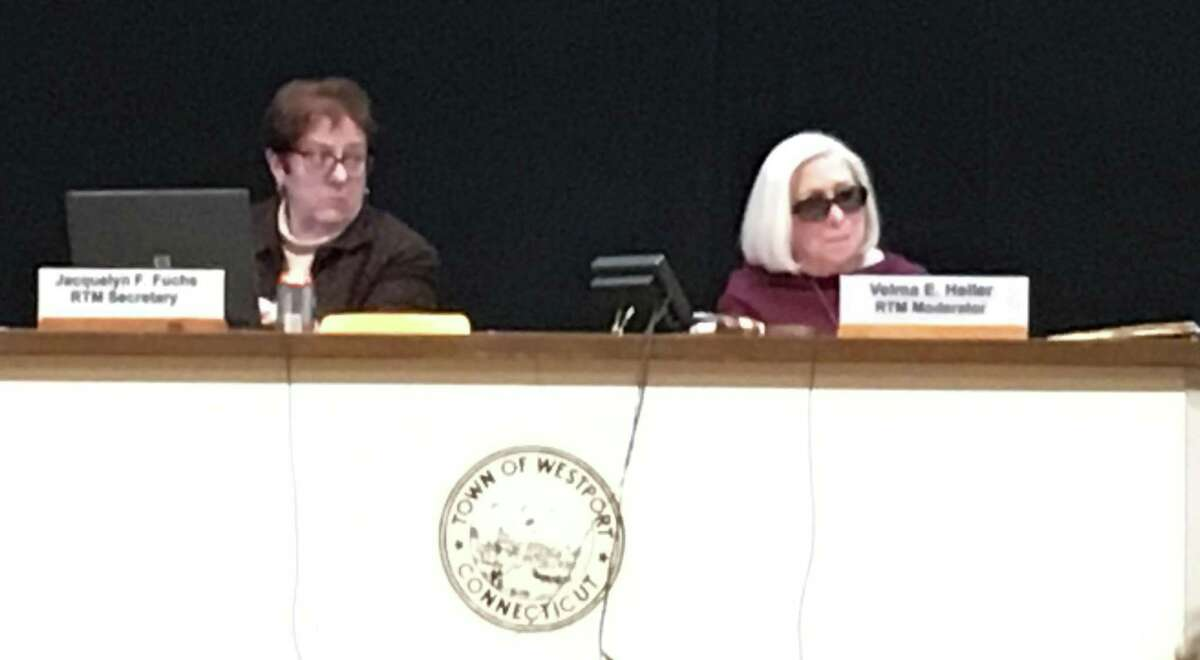 Westport Representative Town Meeting (RTM) Secretary Jacquelyn Fuchs and Moderator Velma Heller presided over the Feb. 6 RTM meeting in Town Hall.