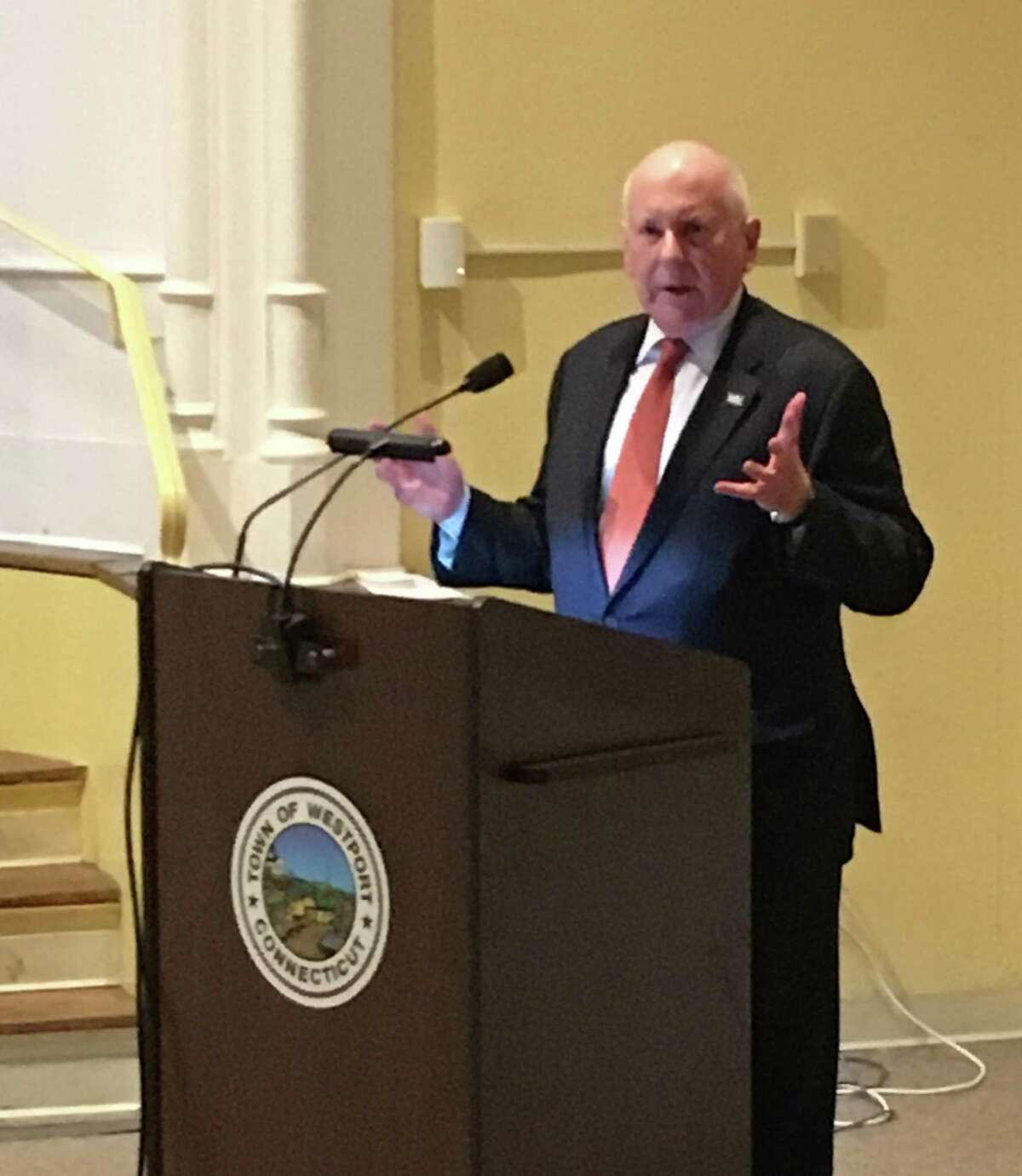 Westport First Selectman Jim Marpe spoke at the Feb. 6 Representative Town Meeting in Town Hall in support of RTM Deputy Moderator Jeffrey Wieser's nomination as the alternate representative to the Western Conn. Council of Governments.