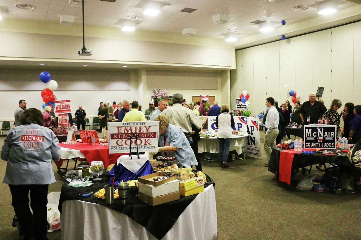 Candidates purchased tables at the event and loaded them with push cards, business cards, and lots of goodies to share with the public who came in to meet the hopefuls.