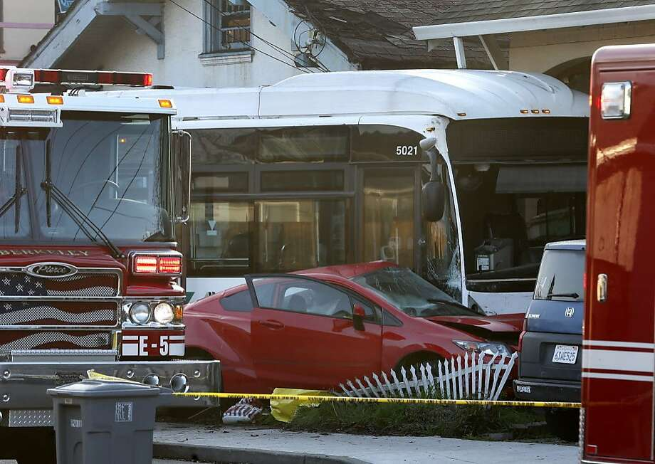 The driver of this Honda died at the scene after a colliding with an AC Transit bus on Ashby Avenue near California Street in Berkeley, Calif. on Thursday, Feb. 8, 2018. Photo: Paul Chinn, The Chronicle