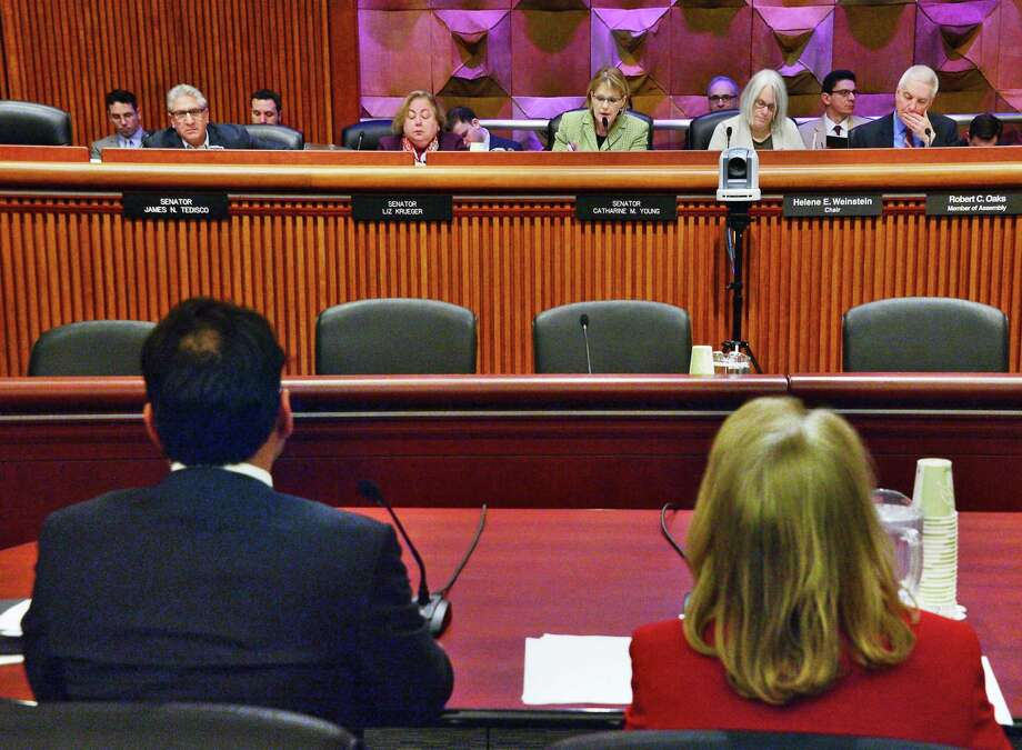Budget Director Robert Mujica, left, and Department of Taxation and Finance Executive Deputy Commissioner Nonie Manion appear before a joint legislative budget hearing Thursday Feb. 8, 2018 in Albany,NY.  (John Carl D'Annibale/Times Union) Photo: John Carl D'Annibale, Albany Times Union / 20042864A