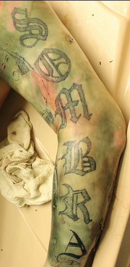 "The Hidalgo County Sheriff's Office is searching for information on a body found in the Rio Grande River Feb. 3, 2018.The body is male and has tattoos. The tattoo above reads, ""Sombra."" Photo: Facebook/Hidalgo County Sheriff's Office"
