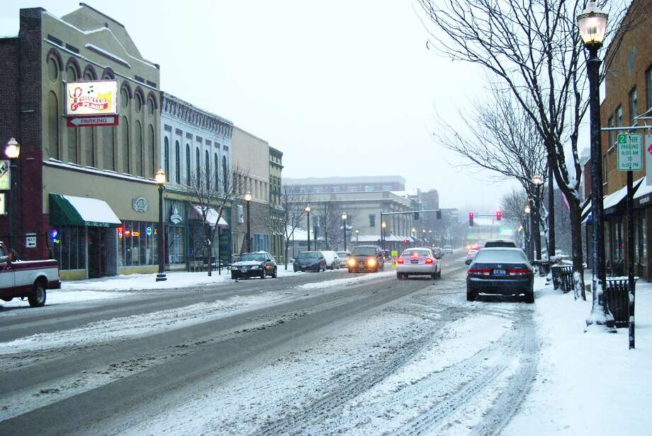 Pictured is a snowy scene of North Main Street.  Photo: Intelligencer Photo