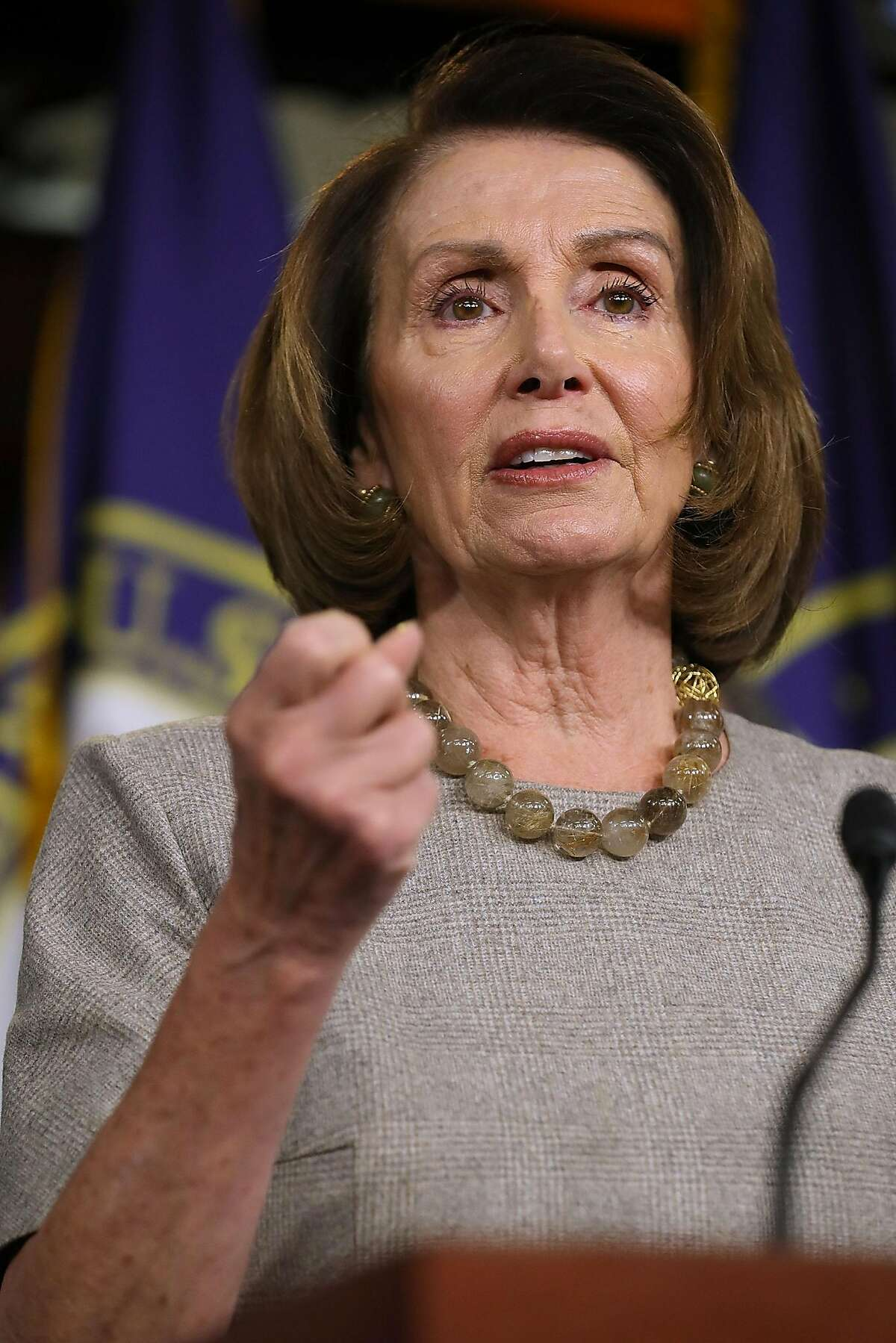 House Minority Leader Nancy Pelosi (D-CA) talks to reporters while announcing the House Democrats' new infrastructure plan during a news conference at the U.S. Capitol February 8, 2018 in Washington, DC.