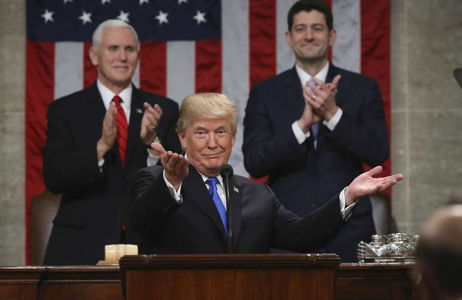 President Trump spent a consid- erable portion of his first State of the Union speech last week touting his achieve- ments, but he also listed a number of goals that can be taken into account to assess his adminis- tration's progress. Photo: Win McNamee, Associated Press