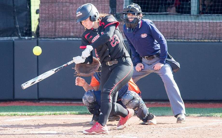 SIUE's Reagan Curtis hits a pitch during a regular season game for the Cougars last year.