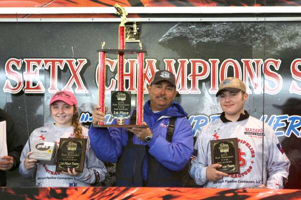 Huntington anglers Hallie Hanna and Ethan Collinscame in first place in the second Southeast Texas High School Fishing Association tournament of the season with a 21.34-pound,  five-fish haul  at Umphrey Family Pavilion on Lake Sam Rayburn. (Jason Dunn/Special to The Enterprise)