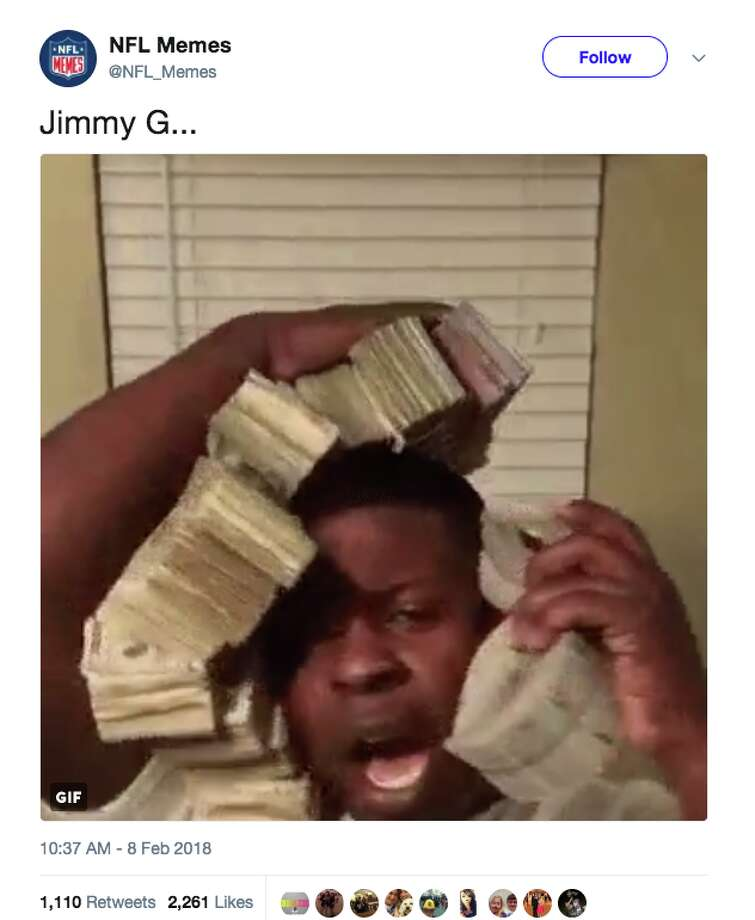News of 49ers quarterback Jimmy Garoppolo's $137.5 million deal elicited reactions across the internet. Photo: Screenshot Via Twitter