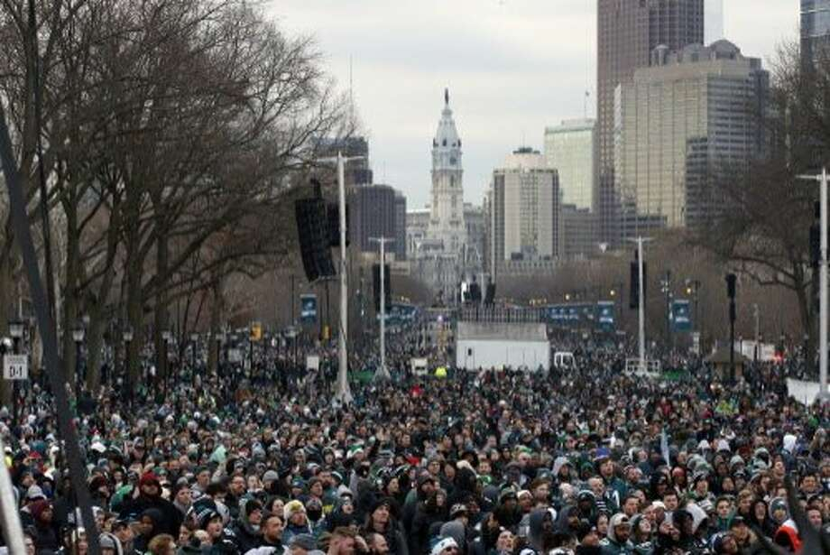 Philadelphia celebrated its first NFL championship since 1960. Fans line Benjamin Franklin Parkway before a Super Bowl victory parade for the Philadelphia Eagles football team, Thursday, Feb. 8, 2018, in Philadelphia. The Eagles beat the New England Patriots 41-33 in Super Bowl 52. (AP Photo/Alex Brandon) Photo: Alex Brandon, Associated Press