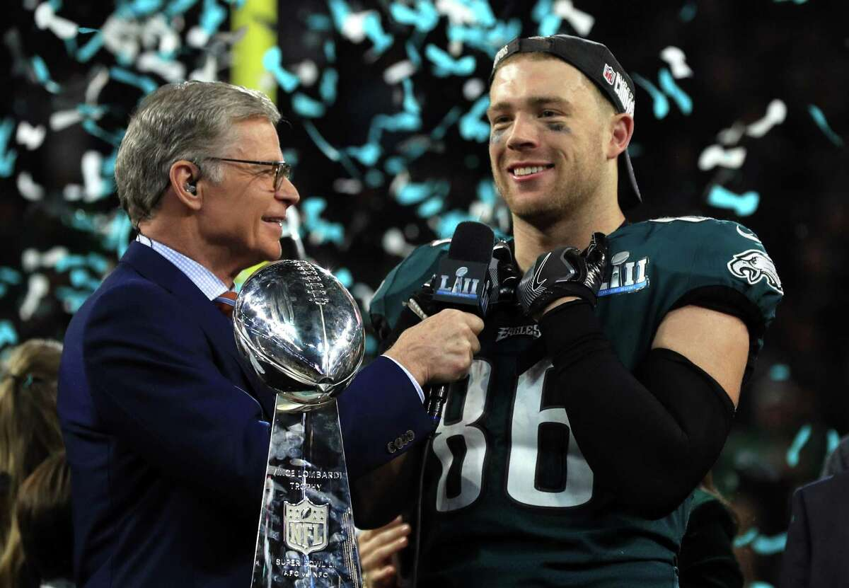 NBC host Dan Patrick interviews Philadelphia Eagles tight end Zach Ertz after the Eagles' 41-33 defeat of the New England Patriots in Super Bowl LII at U.S. Bank Stadium on Feb. 4, 2018, in Minneapolis.