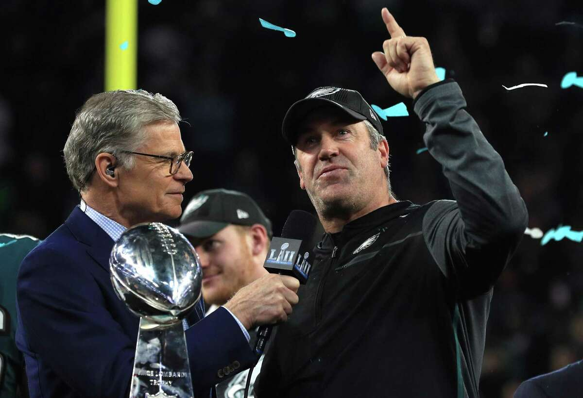 NBC host Dan Patrick interviews Philadelphia Eagles Head Coach Doug Pederson after the Eagles' 41-33 defeat of the New England Patriots in Super Bowl LII at U.S. Bank Stadium on Feb. 4, 2018, in Minneapolis.