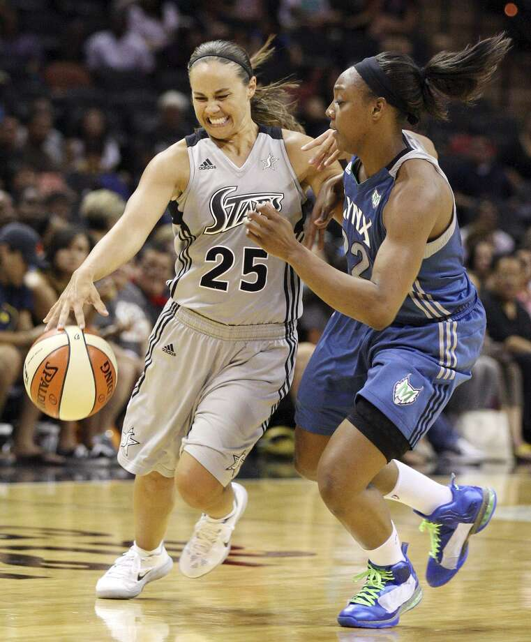 Stars' Becky Hammon is fouled by Lynx's Monica Wright during second half action Sunday, July 1, 2012 at the AT&T Center. The Stars won 93-84. Photo: Edward A. Ornelas, Staff / San Antonio Express-News / ¨ 2012 San Antonio Express-News