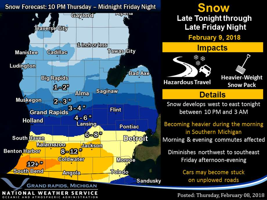 Travel is discouraged in southern Michigan on Friday, especially areas in the vicinity of I-94 and US-12. Snow will become heavy during the morning. Unplowed side roads may become impassable for some vehicles by late morning or afternoon. Photo: National Weather Service Grand Rapids