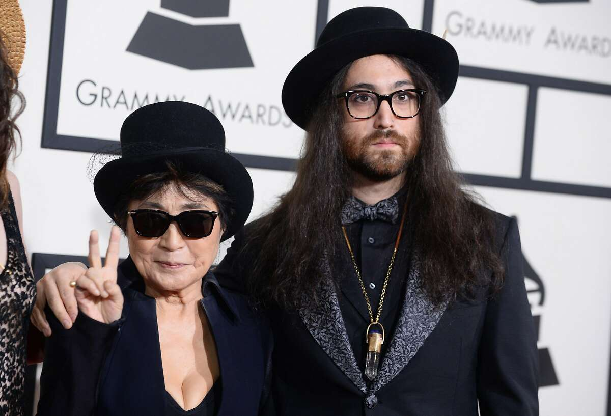 Yoko Ono, left, and Sean Lennon arrive at the 56th annual Grammy Awards at Staples Center on Sunday, Jan. 26, 2014, in Los Angeles. (Photo by Jordan Strauss/Invision/AP)