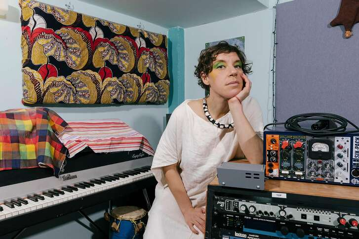 Merrill Garbus of Tune-Yards at her studio in Oakland, Calif., Jan. 10, 2018. The indie-pop musician applied lessons learned while DJ-ing and attending a workshop on race to her new album, �I Can Feel You Creep Into My Private Life.� (Peter Prato/The New York Times)