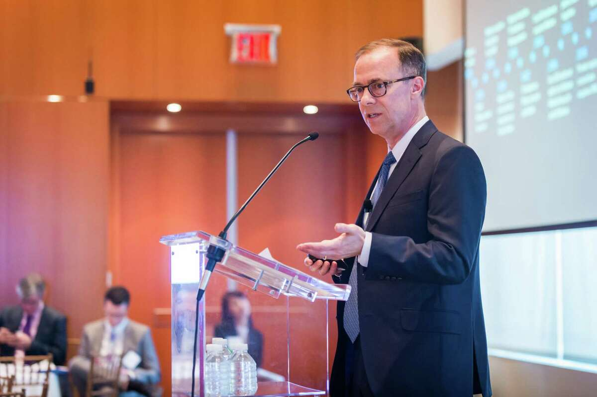 Nielsen Holdings CEO Mitch Barns speaks in February 2017 at CECP's annual Board of Boards forum in New York City. (Photo via Nielsen)