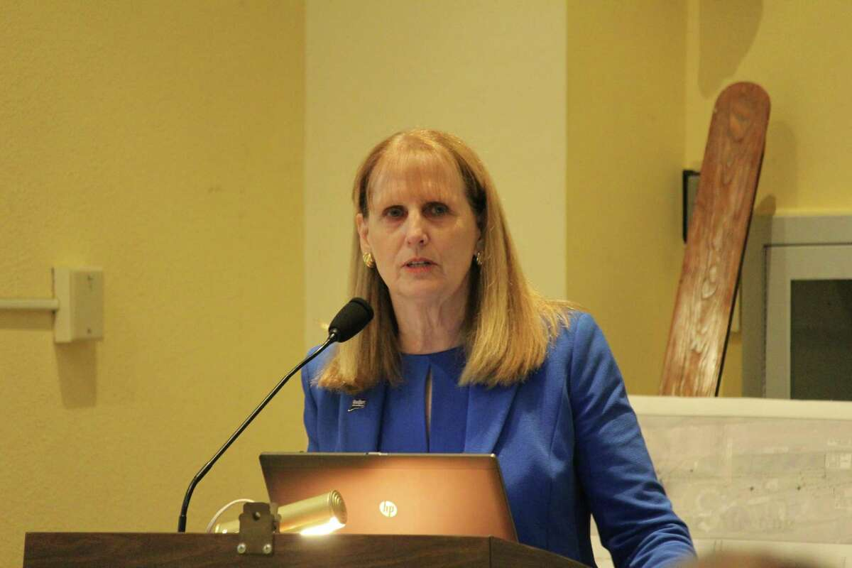 Superintendent Colleen Palmer was the top earning town employee in Westport in 2017 and took home $291, 315.52 in gross wages. In this photo she is show speaking to the Representative Town Meeting about the school's expenses on May 2, 2017 in Westport Town Hall.