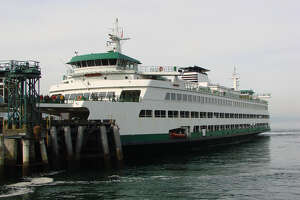 The M/V Wenatchee, one of three Jumbo Mark II class ferries in the Washington State Ferries system.