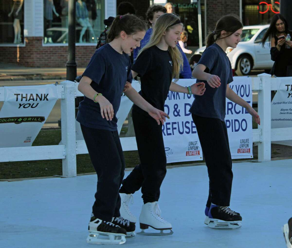 Warm weather and a synthetic ice rink drew crowds to Sherman Green last February.