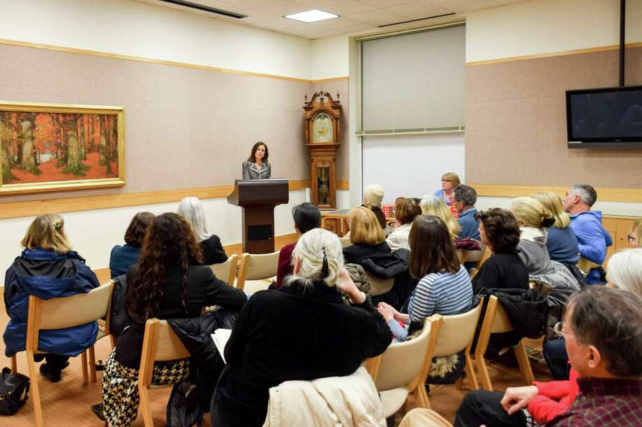 Joanne Lipman speaks to a crowd on Feb. 7 at Greenwich Library. Photo: / Contributed