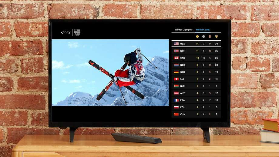 This 2018 image provided by Comcast Corp. shows the Olympics interface on an X1 TV set-top box for Comcast customers. NBC owner Comcast will include online coverage on its TV set-top boxes and TV coverage on its mobile apps to offer viewers one-stop shop to the Olympics. Comcast and other cable providers will also offer the opening ceremony and other events in sharper, 4K resolution, though with a days delay. Photo: /Associated Press / Comcast Corp.