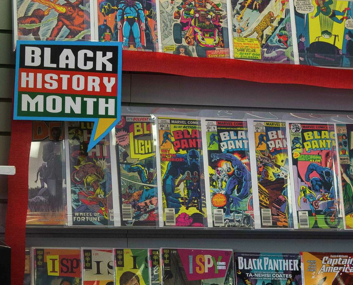 Selected comics, including Black Panther titles, are on display for Black History Month at Bedrock City Comic Company, Thursday, Feb. 8, 2018, in Houston.