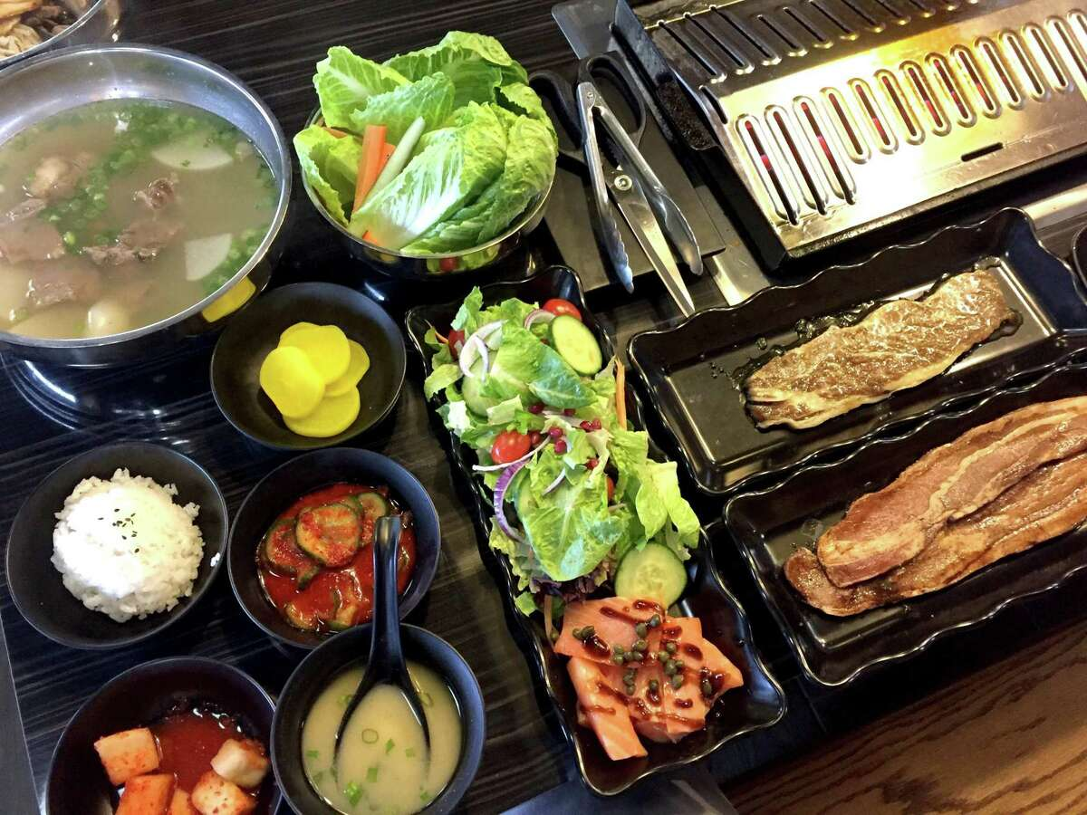 Selection of meats, appetizers and soup at Quarters Japanese and Korean BBQ.