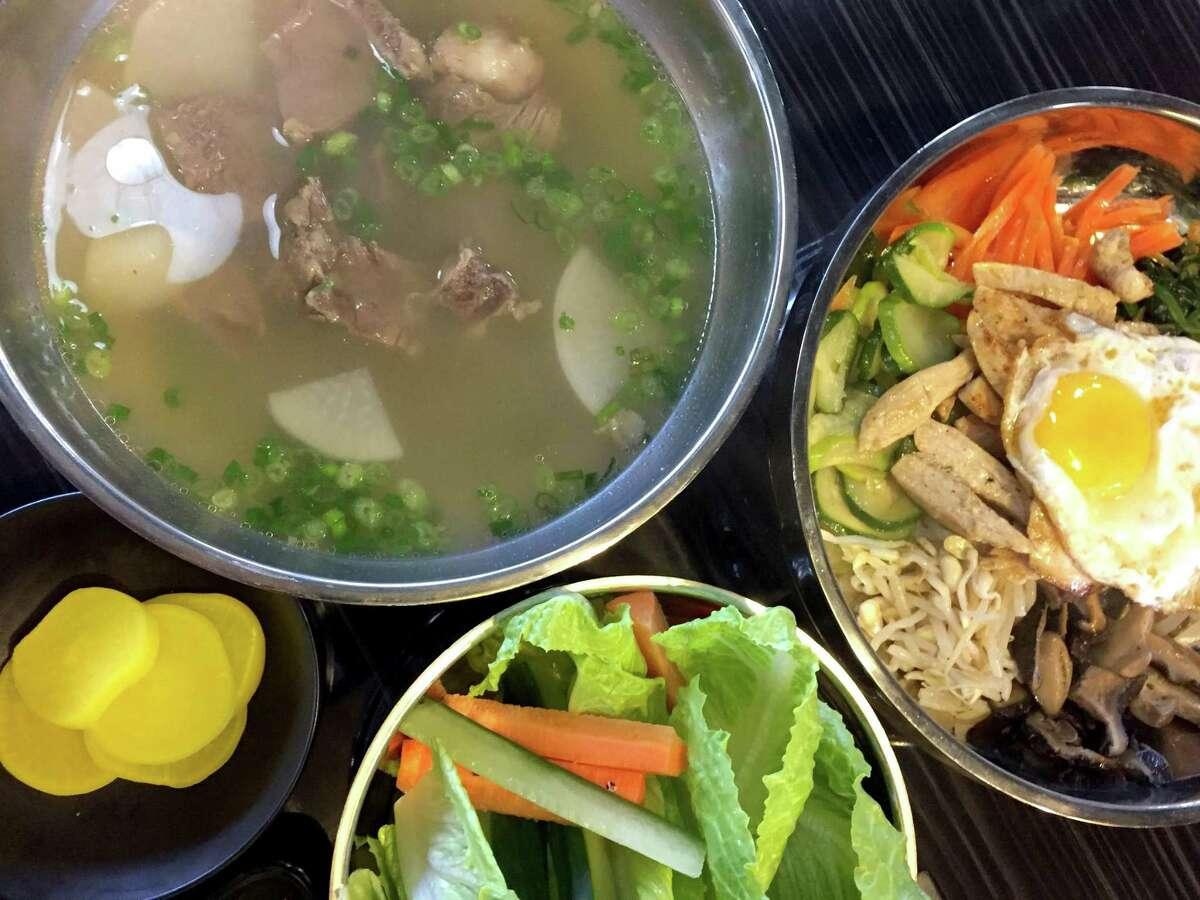Beef short rib soup and bibimbap at Quarters Japanese and Korean BBQ.