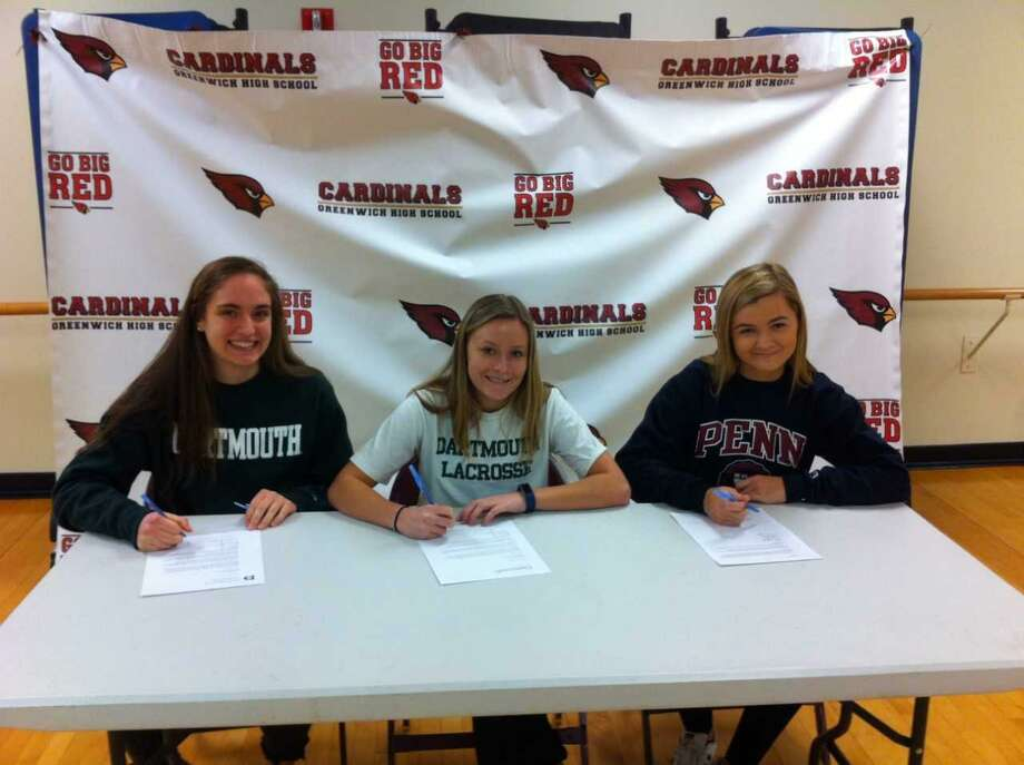 From left, Greenwich High School seniors Cameron Thibault, Maggie O'Gorman and Sofi de la Sierra each signed National Letters of Intent to compete in their respective sports at the Division I level. Thibault will join the crew team at Dartmouth, O'Gorman will play lacrosse at Dartmouth and de la Sierra is heading to Pennsylvania for crew. Photo: David Fierro / Hearst Connecticut Medi