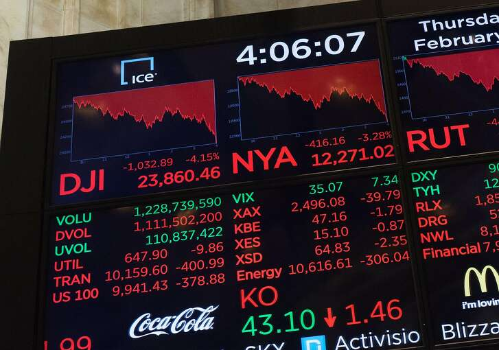 The closing numbers are displayed after the closing bell of the Dow Industrial Average at the New York Stock Exchange on Wall Street on February 8, 2018 in New York.  Wall Street tumbled back into sell-off mode Thursday, with the Dow plunging more than 1,000 points as worries over interest rate hikes continued to drag the market down. At the closing bell, the Dow Jones Industrial Average was at 23,858.90, down 4.2 percent.  / AFP PHOTO / Bryan R. SmithBRYAN R. SMITH/AFP/Getty Images
