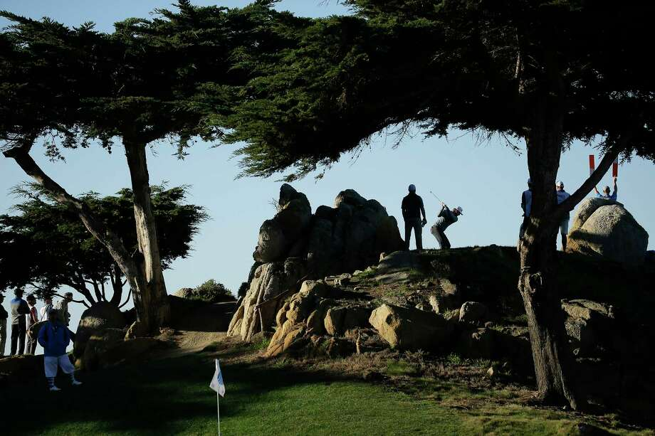 Chris Stroud hits from the 11th tee of the Monterey Peninsula Country Club Shore Course during the second round of the AT&T Pebble Beach National Pro-Am golf tournament Friday, Feb. 9, 2018, in Pebble Beach, Calif. (AP Photo/Eric Risberg) Photo: Eric Risberg, Associated Press / Copyright 2018 The Associated Press. All rights reserved.