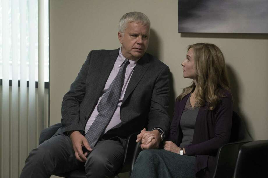 """Tim Robbins and Holly Hunter play the progressive parents of a multiracial family in Alan Ball's new provocative drama """"Here and Now"""" on HBO. Photo: Ali Paige Goldstein /HBO"""