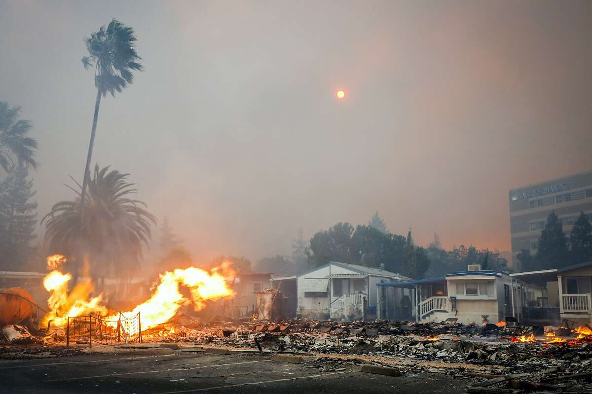 A fire tears through parts of the Journey's End mobile home park on Mendocino Avenue in Santa Rosa, Calif., on Monday, Oct. 9, 2017.