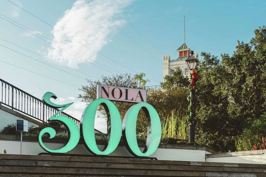 "This undated photo shows a ""NOLA 300"" sculpture in Washington Artillery Park in New Orleans. The 7-foot-tall structure is one of several on display around the city in honor of New Orleans' tricentennial, which is being celebrated throughout 2018. (Paul Broussard/New Orleans Tourism Marketing Corporation via AP) Photo: Paul Broussard / Paul Broussard"